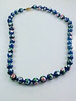 Vintage Blue Enamel Cloisonne Necklace
