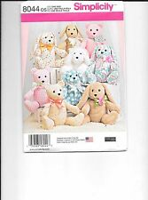 "Simplicity 2 Pattern Piece Animal  14""  Dog- Rabbit- Bear  Sewing Pattern 8044"