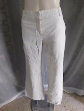 Ann Taylor LOFT Laura Solid Ivory White Casual Linen Pants - Size 8