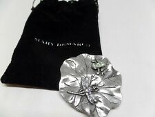 Mary Demarco Pewter & Crystal Mirror With Pouch!