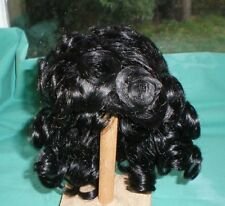 """doll wig/ mohair black/brown 13"""" to 14""""/pageboy haircut curled"""