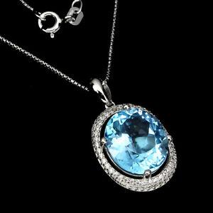Oval Sky Blue Topaz 14x12mm Cz White Gold Plate 925 Sterling Silver Necklace 18