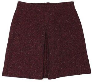 Hobbs London Raspberry Red Aline Midi Skirt Wool Blend with Silk Size UK 14