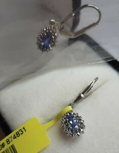 Platinum Plated S/Silver Earrings. Created Sapphire & Diamond 0.76ct