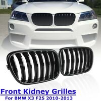 Pair Gloss Black Front Kidney Grill Grille For BMW X3 F25 2010 2011 2012 2013