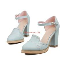Womens Block High Heels Round Toe PU Leather Shoes Ankle Strap Pumps Plus Size