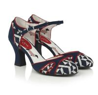 RUBY SHOO Womens Jeraldine Navy White Red Heel Mary Jane Shoes UK5 EU38 US7