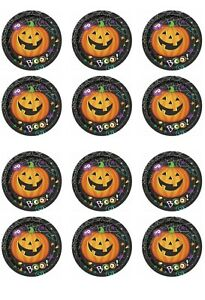 Halloween Edible Icing cupcakes toppers 12 x 2 inches Set 4