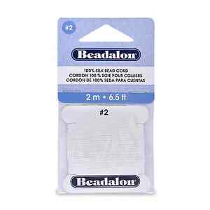 Beadalon Silk  Size #2 Color White 2 Meter Card with Needle