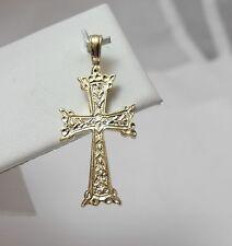 14K Gold Celtic Irish Ireland Cross Charm Pendant  2.9 gr