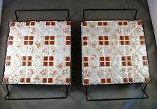 Set of 2 TRIVETS Ceramic Hearts Squares Tiles Black Metal Stand 6 inch
