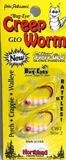 """Northland Size 2 """"Bug-Eye"""" Neon Super-Glo Bubble Gum Creep Worm 2 per Package"""