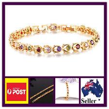 Gold Plated Bracelet Gem Crystals Embedded Valentine's Day Birthday Wedding Gift