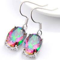 Natural Handmade Multi-color Rainbow Mystic Fire Topaz Silver Dangle Earrings