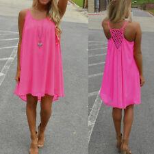 Women Summer Short Mini Dress Casual Beach Boho Cover Up Kaftan Floral Sundress