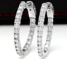 2.25Ct Natural Diamond 14K Solid White Gold Hoop Earrings