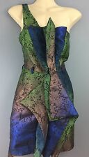RIVER ISLAND green blue iridescent baroque rock cocktail dress 8