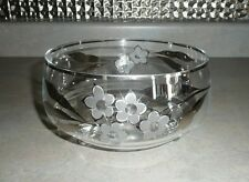 Vintage Bohemia Crystal Footed 3-Toed Bowl Clear with Silver Floral
