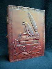 RAVEN / CROW A5 Handmade Leather Journal Book of Shadows Diary - Pagan Wicca