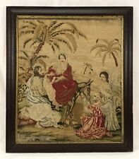 Large Antique Mid 19th C Baby Jesus Mary Joseph Needlepoint In Mahogany Frame