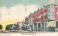 c1910 Front Street, Stockton, Illinois Postcard