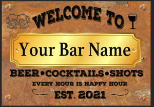 FUNNY PERSONALISED BAR SIGN, METAL TIN SIGN PLAQUE MAN CAVE SHED GARAGE HOME PUB