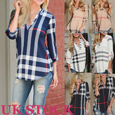 Womens Ladies Blouse Long Sleeve Striped Plaid Top T Shirt Loose Casual Tops New