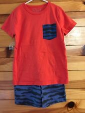 Mini Boden Short Set Orange-Red Pocket Shirt  Blue Tiger Stripe Shorts Boys 6-7Y