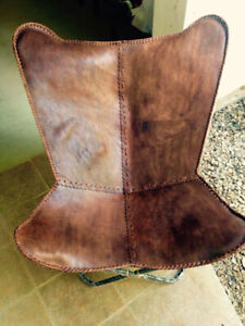 LIGHT BROWN  LEATHER BUTTERFLY HAND MADE CHAIR/ GENUINE LEATHER