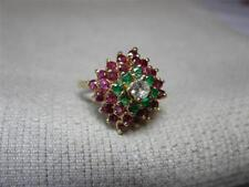 Emerald Ruby Diamond Ring Wedding Engagement 14K Estate Jewelry Princess Superb!