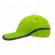Mens Ladies Hi Vis Neon Baseball Cap High Viz Workwear Reflective Peaked Hat