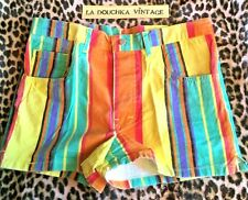 French 1980s Men Short Shorts~Neon Colours Stripes Print~Made In France~New~W:34