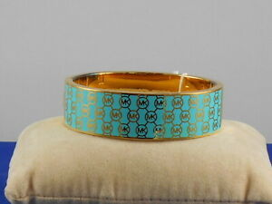 Michael Kors Gold Turquoise Enamel Heritage Monogram Logo Hinged Bangle Bracelet