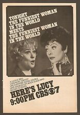 1974 CBS TV AD~LUCILLE BALL~HERE'S LUCY~FUNNIEST WOMAN IN THE WORLD X 2