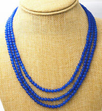 Fashion 3 rows 4 mm blue sapphire bead necklace 17-19inch JN873