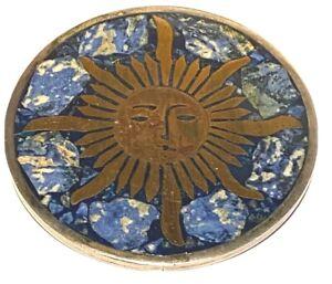 JAE LARGE VINTAGE STERLING SILVER BRASS CHIP INLAY ARTISAN SUN PENDANT BROOCH