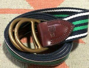 Polo Ralph Lauren Striped Belt Cotton Canvas D Ring Large Blue Green White Pony