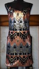 Miss Selfridge Aztec Sequin Dress Gatsby Embellished 1920 Size UK6 EUR34