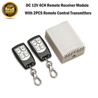 DC 12V 4CH Kanal Relais Funk Wireless Switch Fernbedienungs Empfänger + 2 Sender