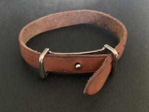"Rare Vintage Hermès Brown Men's Leather Cuff Bracelet For 7"" Wrist No Reserve!"