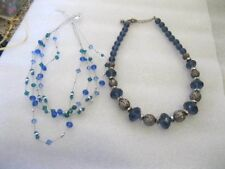 "LOT of 2 16"" Adjustable blue silver tone necklaces with Lobster Claw catches"