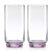 Kate Spade Charles Lane Blush Highball Drink Water Glasses Set of 2 by Lenox
