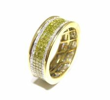 14k Yellow Gold 6.00ct Invisible Set White & Canary Diamond Eternity Band Ring