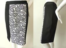 CHARLIE BROWN Black and White Jacquard Straight Skirt Size 8 US 4  rrp $299.00