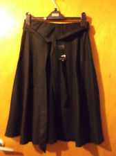 """M&S Linen Blend Elasticated Waist Skirt w/Tie Belt UK 10 L25"""" Black BNWT"""
