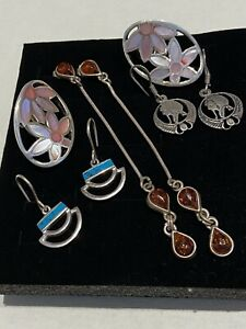4 PAIRS  VINTAGE/FASHION  STERLINF SILVER EARRINGS - AMBER