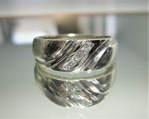 Men's Natural Diamond Ring-14K Solid White Gold Diamond Ring Size 8