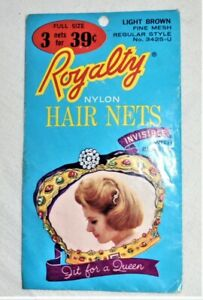 Vintage ROYALTY NYLON HAIR NETS Packet 3425-U - LIGHT BROWN - 3 for 39 Cents