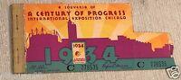 1934 Chicago World's Fair A Century Of Progress Ticket Stubs