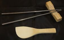 STAINLESS STEEL CHOP STICKS, REST & PADDLE - JAPANESE - COOKING - RICE - GIFT